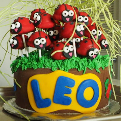 "Ladybug Cake Pops By Better Batter Bakery, Dallas, Tx 9"" Chocolate Cake with Strawberry flavored Chocolate cake Pops"