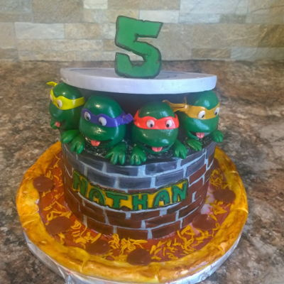 Ninja Turtle Birthday Cake Buttercream cake with fondant and gumpaste decorations
