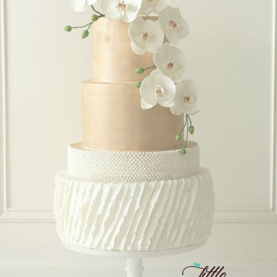 Orchids, Pearls And Ruffles Cake