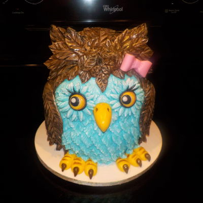 Owl Cake Owl cake covered in handmade vanilla marshmallow fondant, and hand painted with food colors. Vanilla cake colored purple inside, and...
