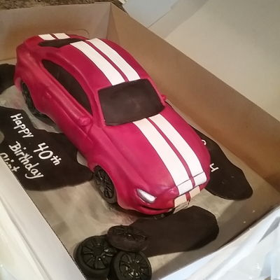 Shelby Mustang Shelby mustang, WASC cake, raspberry buttercream, modeling chocolate and covered in fondant