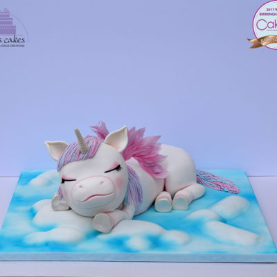 Sleeping Baby Unicorn It was my first time entering Cake International and I was very happy to be awarded bronze in Class F (Carved Novelty Cake).