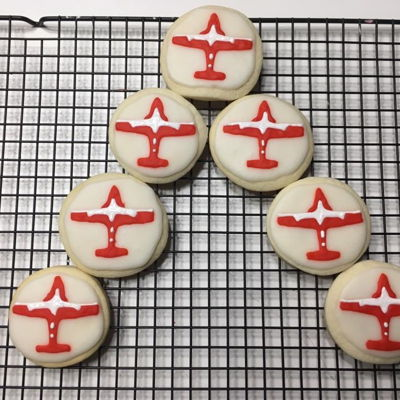 Snowbird Sugar Cookies Sugar cookies with a icing sugar/corn syrup icing.