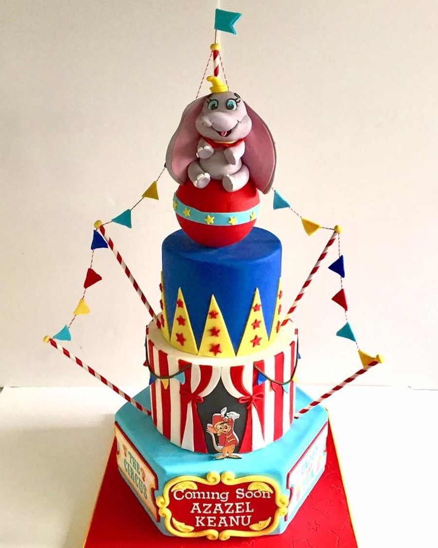 3 Tier Dumbo Circus Baby Shower Cake On Cake Central