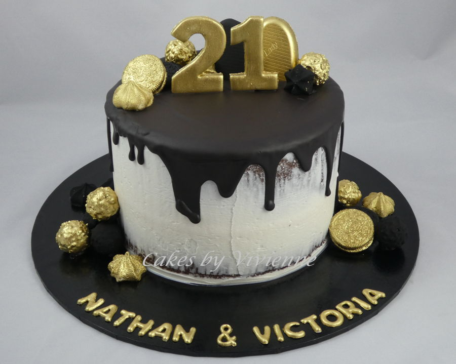 Black And Gold 21st Birthday Cake Cakecentral