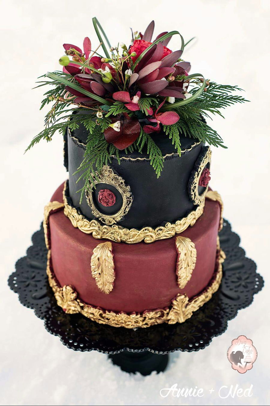 Elegant Boho Chic Wedding Cake Gorgeous And Rich Burgundy Black Gold Color