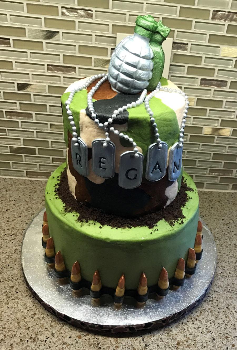 Camo Buttercream Cake Cakecentral Com