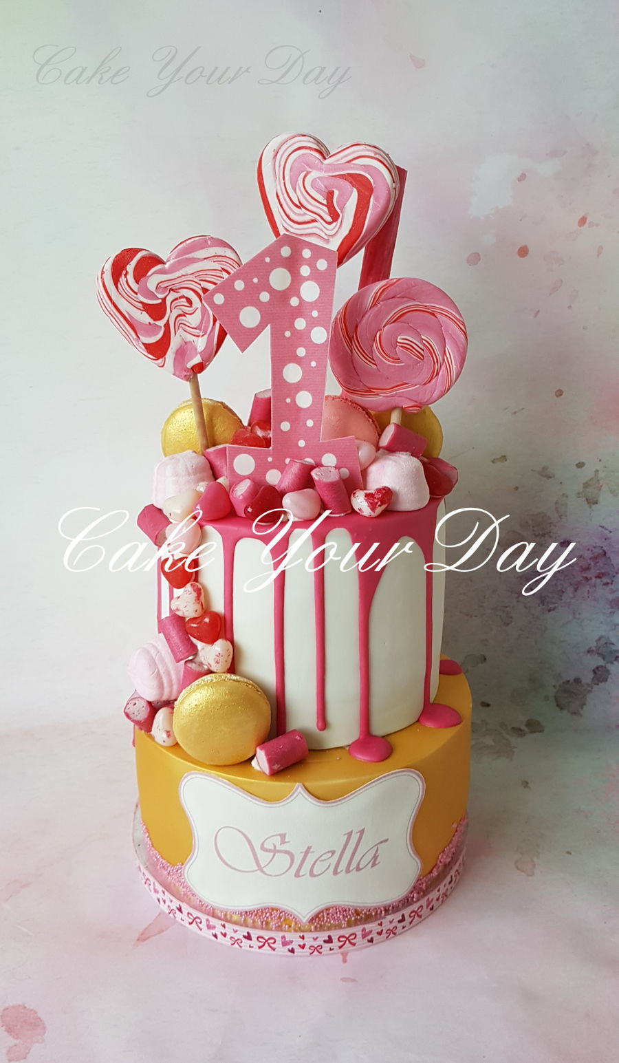 Gold&pink Candy Cake on Cake Central