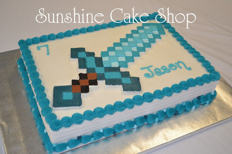Minecraft Diamond Birthday Cake