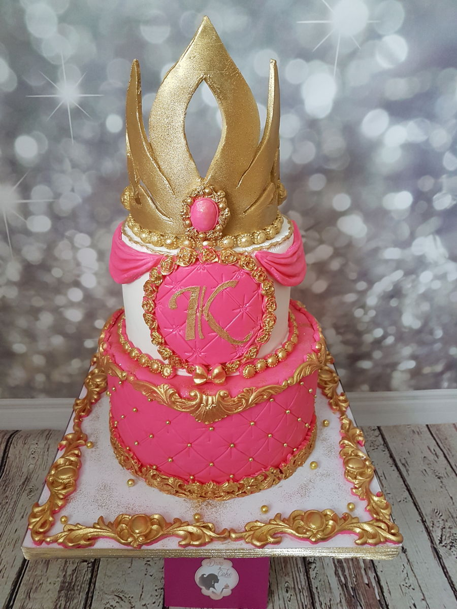 Pink And Gold Princess Cake And Beautiful Sweet Table