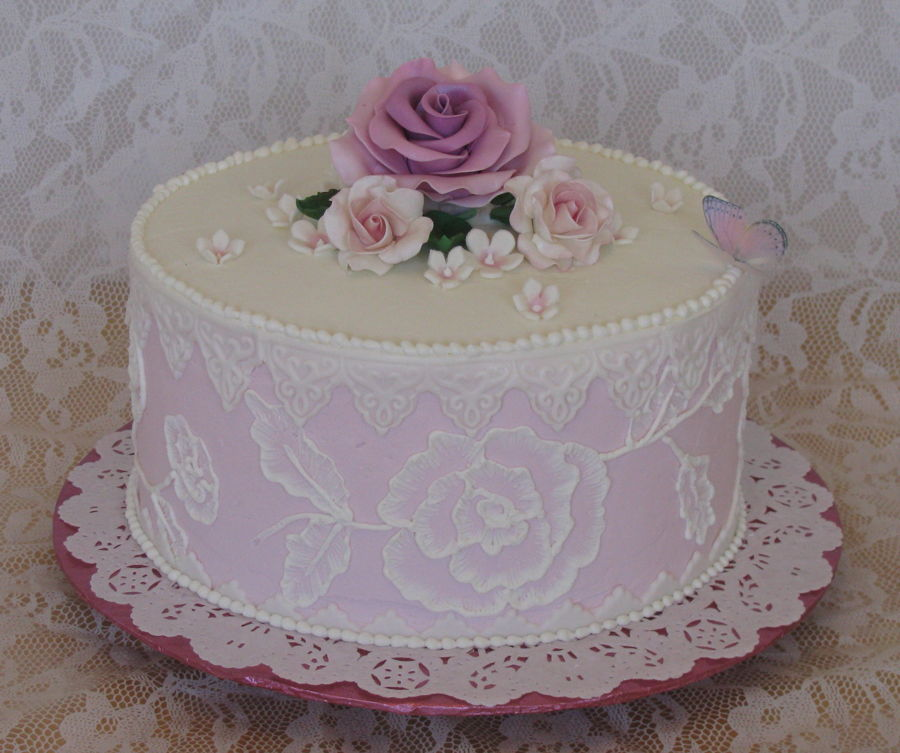 Pink rose embroidery cakecentral