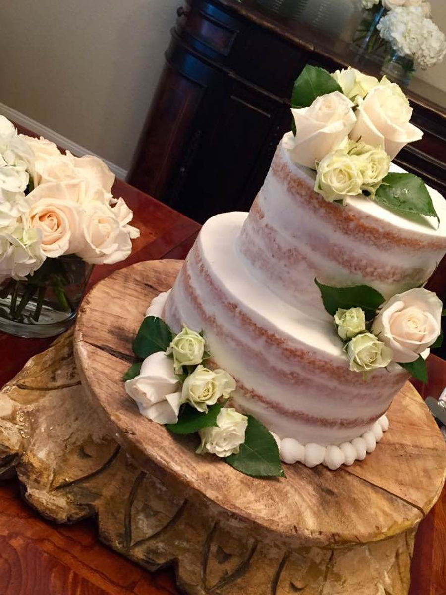 Rustic Theme Cake With Fresh White Roses Cakecentral Com