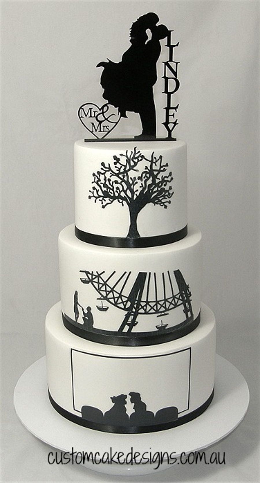 Silhouette Wedding Cake on Cake Central