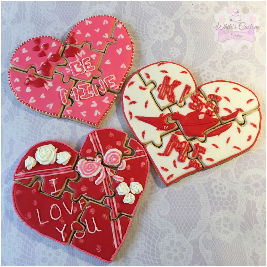 Valentine Puzzle Cookies on Cake Central