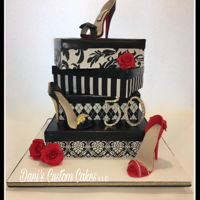 50Th Birthday High Heel Cake 50th birthday Black, white and red shoe and shoebox cake