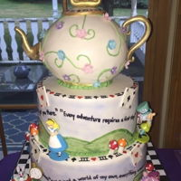"Alice And Wonderland First Birthday Cake Alice and ""Onederland"" themed cake - 3 tiered, all cake with teapot and hand painted pastel scenery with hand written movie..."