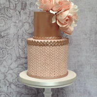 Blush Pink And Rose Gold Birthday Cake Two tier birthday cake in soft peach and blush tones with some details of rose gold luster. For the floral decorations, I made some sugar...