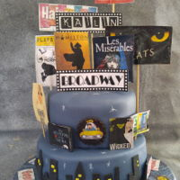 Broadway Sweet 16 Birthday Cake A sweet 16th birthday cake for Kailin who is a music and drama student. Brief was lots of Broadway signs, and a taxi on the cake somewhere...