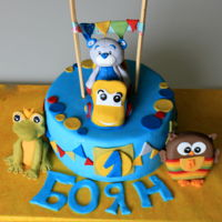 Cake With Little Cuties For 1St Birthday The figurines are based on the birthday boy'toys . He was so happy to see his owl, frog, teddy bear and mini yellow truck on the...