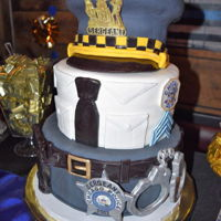 Chicago Police Sergeant Promotional Cake three tiered cake to mirror the Chicago Police sergeant uniform, crown cap made of all cake covered in fondant with fondant lip,...
