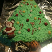 Christmas Tree Christmas tree cake with santa and presents