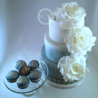 Dusty Blue Wedding Cake With The Matching Colors Macaroons Wedding cakeMacaroons