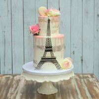 Eiffel Tower Cake Two Tier vanilla cake with Italian Meringue Buttercream