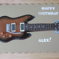 Electric Guitar I was asked to make a cake for my nephew's birthday that looked like his own electric guitar. He requested a vanilla cake with vanilla...