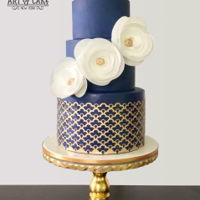 Elegant Navy Wedding Cake Love the simplicity of the design. Wafer paper filigree on bottom tier.