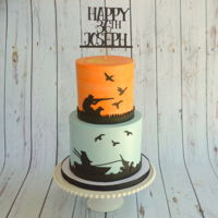 Fishing And Hunting Cake Vanilla cake with Italian meringue buttercream and fondant embellishments