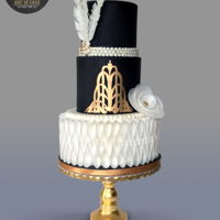 Gatsby = Art Deco Cake LOved making this cake. Wafer paper bottom tier and feathers.