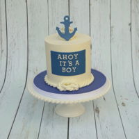 It's A Boy Anchor Cake Vanilla Cake with fondant embellishments