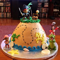 Jake And The Neverland Pirates Made this for my 3 year old Grandson. Buttercream with Fondant accents
