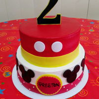 Mickey Birthday All buttercream with fondant decorations. (I was given a similar pic to make the cake look as close as possible to, not my design.)