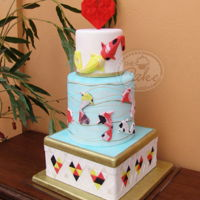 Origami Koi Fish Wedding Cake This was my collaboration for the april issue of an international cake magazine.Everything in dthis cake was made in fondant, even the...