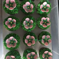 Spring Cupcakes Trying out my new fur/grass tip.German chocolate cupcakes, buttercream grass, and fondant flowers.