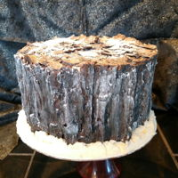 Tree Stump Cake A vanilla cake with vanilla buttercream. The bark is made from chocolate.