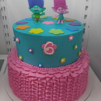 Trolls Birthday All buttercream with fondant decorations.