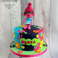 Trolls - Poppy Poppy cake made for little Hania- happy and colourful :)
