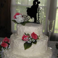 Wedding Cake This is the first cake that I used artificial flowers! I think it turned out great!