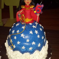 Wonder Woman Doll Cake My daughter's wonder woman cake.