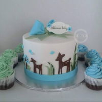 Woodland Deer Baby Shower Cake & Cupcakes Baby shower Cake & Cupcakes