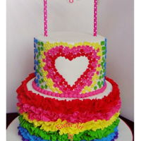 World Of Colours! Made for a beauty whose is a world full of colour! Rainbow..ruffles.and flowers. Matching rainbow cake on the inside as well✌