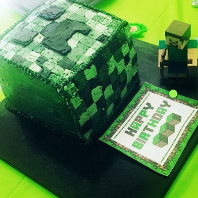 Minecrafty Cake Minecraft cake made for my younger brother. I used frozen buttercream transfer for the decoration of the cake