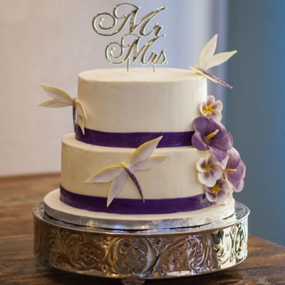Purple Wedding Cake Purple dragon Flies and purple flowers