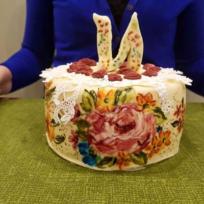 Romantic Handpainted Cake - Flowers And Laces