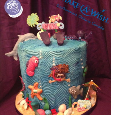 Under The Sea / Hawaii Cake I had the honour of creating and donating this cake for the 1,300th wish child, Cadence. It was awesome working with Make-A-Wish...