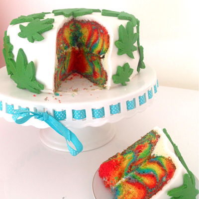 Weed Cake I made this psychedelic weed themed cake for my stoner sister. She loved it so much! *DOES NOT HAVE ACTUAL MARIJUANA IN IT!*