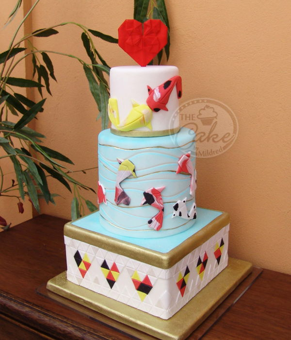 Origami Koi Fish Wedding Cake