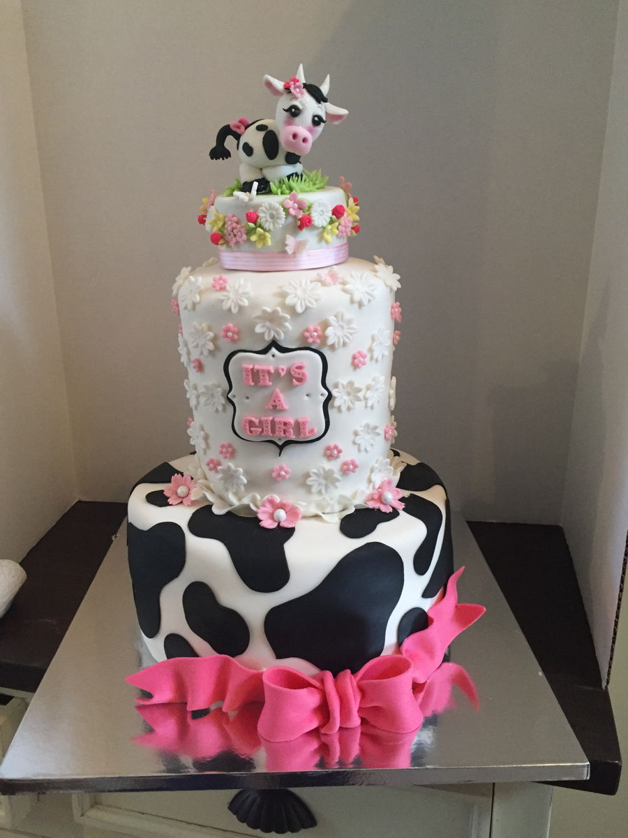 Cow Themed Baby Shower Cake Cakecentral Com